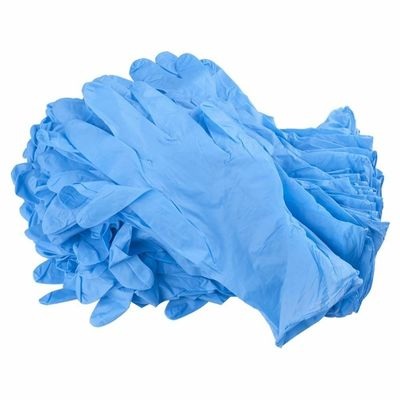 China Blue Color Disposable Hand Gloves , Durable Nitrile Exam Gloves Powder Free factory